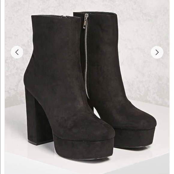 9187589384e Faux Suede Platform Ankle Boots. NWT. Forever 21
